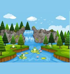 Frogs in waterfall scene vector