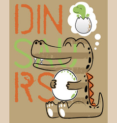 funny dinosaur cartoon with its egg on letters vector image