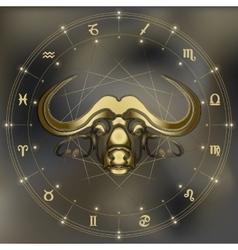 Golden bull portrait zodiac Taurus sign vector