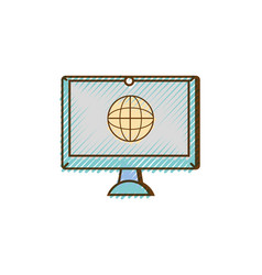 grated screen electronic equipment with global vector image