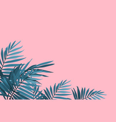 green palm leaves on a pink background tropical vector image