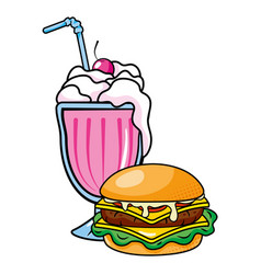 Hamburger and milk shake vector