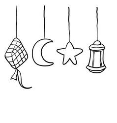 Hand drawn doodle eid celebration islamic symbol vector