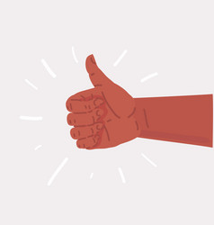 hand thumb up on white background vector image