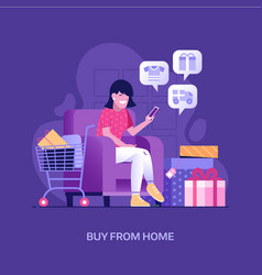 Happy girl shopping online at home concept vector