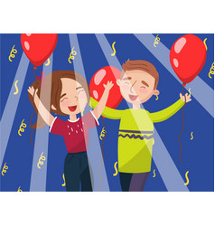 Happy man and woman celebrating with red balloons vector