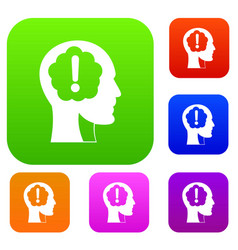 head with exclamation mark inside set color vector image