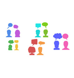 in flat style businessmen discussion in social vector image