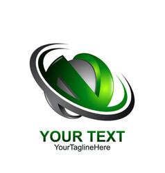 Initial letter n logo template colored dark grey vector