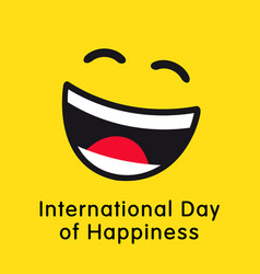 International day happiness smile wink template vector