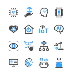 internet of things and artificial intelligence vector image