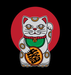 Japan lucky cat maneki neko vector