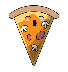 kawaii tasty pizza slice icon vector image