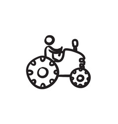 man driving tractor sketch icon vector image