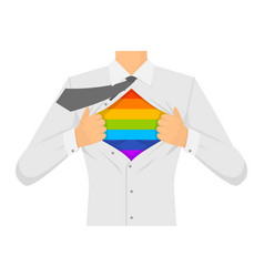 Man ripping the shirt lgbt sign vector