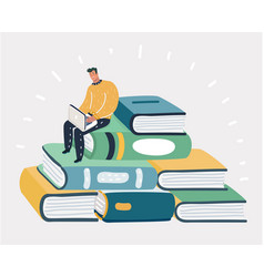 man sit at pile of the books vector image