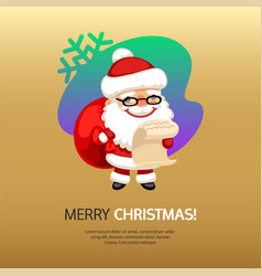 merry christmas card santa claus with bag vector image