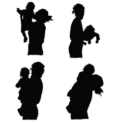 mother holding baby silhouette vector image