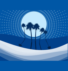 night landscape with palm trees on beach dots vector image