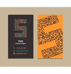 Number 5 Logo Business card vector image