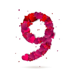 Number nine 9 made from red hearts Love alphabet vector