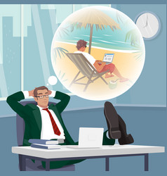 office worker dreams of working on tropical beach vector image