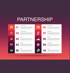 Partnership infographic 10 option template vector