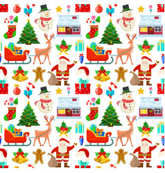 pattern with christmas decoration vector image