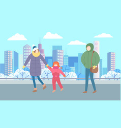People walking in winter park mother and daughter vector
