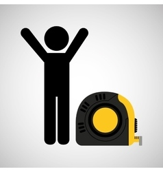 person and tape measure vector image