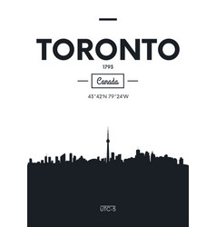 poster city skyline toronto flat style vector image