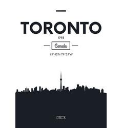 Poster city skyline toronto flat style vector