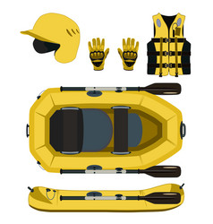 Rafting equipment and protective gear icon vector