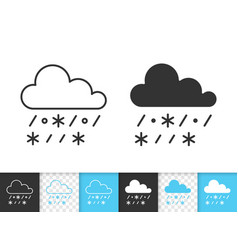 rain with snow simple black line icon vector image