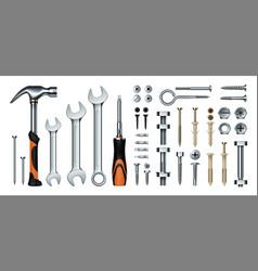Realistic mechanic tools 3d construction vector