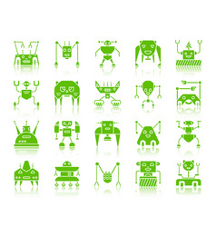 robot color silhouette icons set vector image