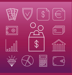 Safe money line art icons vector