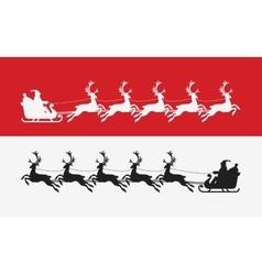 santa claus rides in sleigh pulled reindeer vector image
