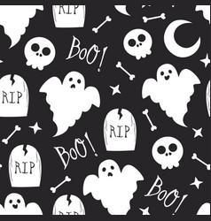 Seamless halloween pattern with skull and ghost vector