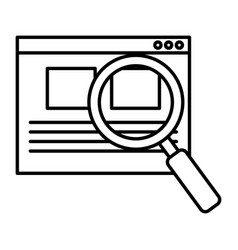 search magnifying glass with template vector image