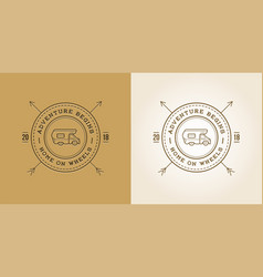 set camper car logo design template home on vector image