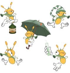 Set of cute cartoon fireflies vector