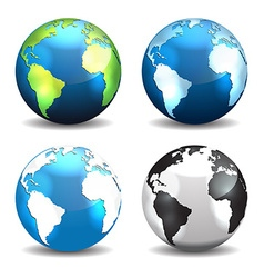 Set of Earth globe icons different color vector image