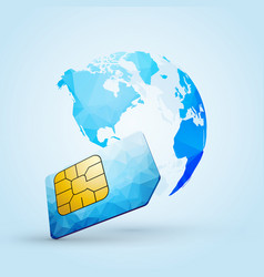 sim card global communication planet earth america vector image