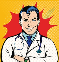 Smile doctor into pop art retro style vector image