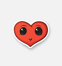 Sticker happy heart with eyes vector