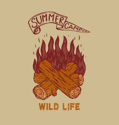 summer camp wild life vintage design with vector image