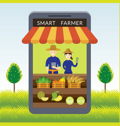 Thailand smart farmer with online shop or store vector