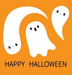 Three flying ghost spirit set boo happy halloween vector