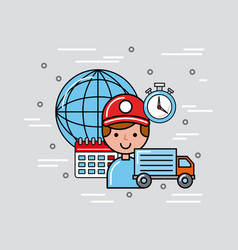 Transport global logistic cartoon vector